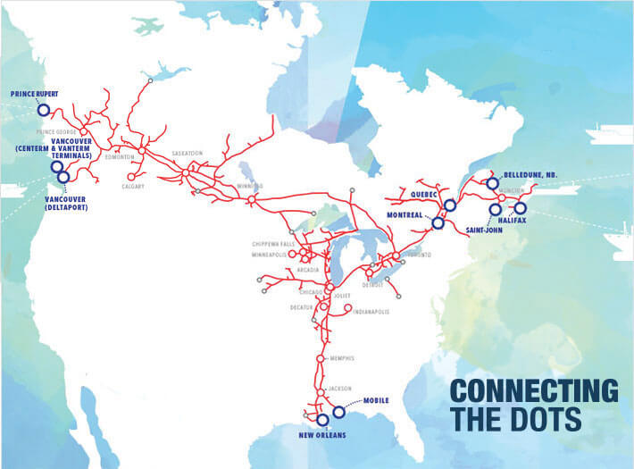 Map Of Canada Via Rail.Ports Network Maps Our Services Cn Ca