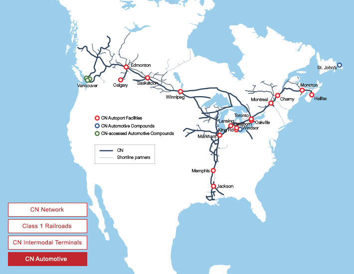 Freight Rail In Canada Map Maps and Network   Our Services   cn.ca