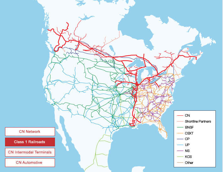 Canada Rail Map Maps and Network | Our Services | cn.ca