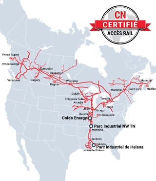 CN Rail Ready Sites Map